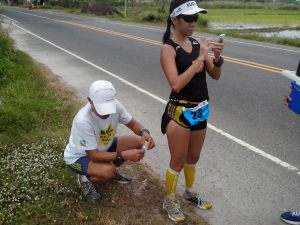 At Kilometer 42. I was looking forward to doing the same social media updating at Kilometer 200 but it never happened. haha No Regrets!