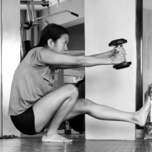 Pistol Squats with weights. This hurts but sure do strengthen and mobilizes everything...