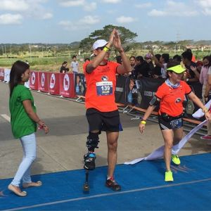 His physical condition might show clearly that the Marathon won't be easy, but he proved otherwise, Allan finished! Photo from Jaymie